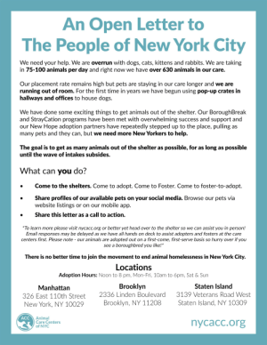 Animals, Cats, and Dogs: An Open Letter to  The People of New York City  We need your help. We are overrun with dogs, cats, kittens and rabbits. We are taking  in 75-100 animals per day and right now we have over 630 animals in our care.  Our placement rate remains high but pets are staying in our care longer and we are  running out of room. For the first time in years we have begun using pop-up crates in  hallways and offices to house dogs  We have done some exciting things to get animals out of the shelter. Our BoroughBreak  and StrayCation programs have been met with overwhelming success and support and  our New Hope adoption partners have repeatedly stepped up to the place, pulling as  many pets and they can, but we need more New Yorkers to help.  The goal is to get as many animals out of the shelter as possible, for as long as possible  until the wave of intakes subsides.  What can you do?  Come to the shelters. Come to adopt. Come to Foster. Come to foster-to-adopt.  Share profiles of our available pets on your social media. Browse our pets via  website listings  or on our mobile app.  Share this letter as a call to action.  *To learn more please visit nycacc.org or better yet head over to the shelter so we can assist you in person!  Email responses may be delayed as we have all hands on deck to assist adopters and fosters at the care  centers first. Please note - our animals are adopted out on a first-come, first-serve basis so hurry over if you  see a boroughbred you like!*  There is no better time to join the movement to end animal homelessness in New York City.  Locations  Adoption Hours: Noon to 8 pm, Mon-Fri, 10am to 6pm, Sat &Sun  Brooklyn  2336 Linden Boulevard  Staten Island  Manhattan  3139 Veterans Road West  326 East 110th Street  Staten Island, NY 10309  Brooklyn, NY 11208  New York, NY 10029  ACC  Animal  Care Centers  of NYC  nycacc.org Considering that we all are here for the awws, maybe some of us can help the floofs.