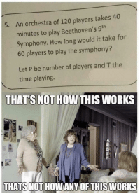 Modern Educayshun: An orchestra of 120 players takes 40  minutes to play Beethoven's 9th  Symphony. How long would it take for  60 players to play the symphony?  5.  Let P be number of players and T the  time playing.  THATS NOT HOWTHIS WORKS  THATS NOT HOWANY OF THISWORKS Modern Educayshun