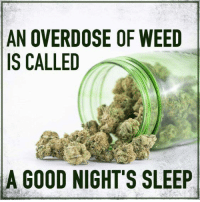 Memes, Weed, and Good: AN OVERDOSE OF WEED  IS CALLED  A GOOD NIGHT'S SLEEP Sleep well.