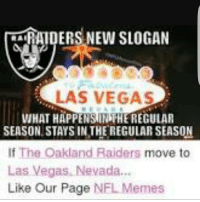 Las Vegas: an RAIDERS NEW SLOGAN  LAS VEGAS  WHAT HAPPENSIINIHEREGULAR  SEASON STAYS IN THE REGULAR SEASON  If The Oakland Raiders move to  Las Vegas, Nevada  Like Our Page  NFL Memes