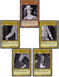 "<p><a class=""tumblr_blog"" href=""http://pepethememe.tumblr.com/post/130479356142"">pepethememe</a>:</p> <blockquote> <p><i>John the Forbidden One</i></p> </blockquote>: AN  SPELLCASTER/EFLCT  An automatic victory can be declared by the player whose  hard contains this card logether with the Left Leg/Righ  Leg/Left Arm/ Right Arm of the Absolute Madman  BSOLUTE MADMAN  ATK/1000 DEF/100o  SPELLCASTER  SPELLCASTER  orblidden right am sealed by magic  Whosoever broaks this seal will know absolute  madness.  left arm sealed In: maçic. Whosorver  naks tris soal will know ahsolute adness  ATK 200 DEF 300  TK/ 200 DEFT 300  RIGHT LEG OF THE ABSOLUTE MADMANLEFT LEG OF THE ABSOLUTE MADMAN  forbidden right leg soaled by magk, Whosoever  Iveaks this seal will know absolute madness  ISPELLCASTER  t forblidldem left leg sealal by magic. Whosoever  brnaks this seal will know ahsolute madness  ATK/ 200 DEF  ATK 200 DEFT 300 <p><a class=""tumblr_blog"" href=""http://pepethememe.tumblr.com/post/130479356142"">pepethememe</a>:</p> <blockquote> <p><i>John the Forbidden One</i></p> </blockquote>"