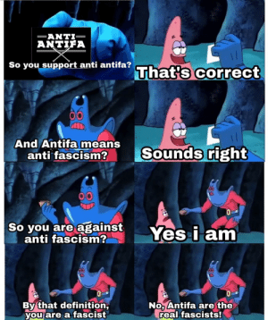 Fascist logic: AN TIFA  So you support anti antifa?  That's correct  And Antifa means  anti fascism2  Sounds right  So you are against Yes i am  anti fascism?  By that definition  you are a fascist  No Antifa are the  real fascists! Fascist logic
