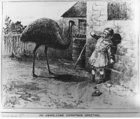 Christmas, Artist, and Emu: AN UNWELCOME CHRISTMAS GREETING Emu interrogates enemy-child on captured farm (Christmas 1932, artist's reconstruction)