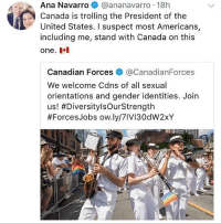 Memes, Trolling, and Canada: Ana  Navarro@ananavarro  18h  Canada is trolling the President of the  United States. I suspect most Americans,  including me, stand with Canada on this  one.  Canadian Forces@CanadianForces  We welcome Cdns of all sexual  orientations and gender identities. Join  us! #DiversitylsOurStrength  #ForcesJobs ow.ly/7IVI30dW2XY who wants to go to toronto pride with me next year ?? who's in ? -a