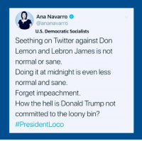 loony: Ana Navarro  @ananavarro  U.S. Democratic Socialists  atw  Seething on Twitter against Don  Lemon and Lebron James is not  normal or sane.  Doing it at midnight is even less  normal and sane  Forget impeachment.  How the hell is Donald Trump not  committed to the loony bin?