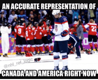 America, Memes, and National Hockey League (NHL): ANACCURATEREPRESENTATION OF  @nhl re  CANADAANDAMERICA RIGHT NOW You guys tell me which is better Canada or the US? 🇨🇦🇺🇸 - nhl usa america canada