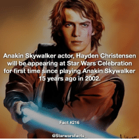 Members of the Star Wars universe don't normally just turn up to celebration without a reason to be there, especially since it's his first time in 15 years... Could they be announcing a Darth Vader movie? Or could he be appearing in Episode 8? Artwork by David Rabbitte starwarsfacts: Anakin Skywalker actor, Hayden Christensen  will be appearing at Star Wars Celebration  for first time since playing Anakin Skywalker  15 years ago in 2002  Fact #216  @Starwarsfacts Members of the Star Wars universe don't normally just turn up to celebration without a reason to be there, especially since it's his first time in 15 years... Could they be announcing a Darth Vader movie? Or could he be appearing in Episode 8? Artwork by David Rabbitte starwarsfacts