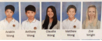 Apparently, Make A, and Make: Anakin  Wong  Anthony  Wong  Claudia  Wong  Matthew  Wong,  Zoe  Wright Apparently 4 wongs make a wright https://t.co/l8JbmD6F2H