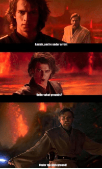 """Posted by Blake Mccormick on our group """"Just Jedi Memes"""": Anakin, you're under arrest  Under what grounds?  Under tie  gh ground! Posted by Blake Mccormick on our group """"Just Jedi Memes"""""""