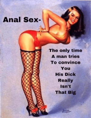Anna H: Anal Sex  The only time  A man tries  To convince  You  His Dick  Really  Isn't  That Big Anna H