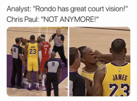 "Fight was brutal 😂 Via @ringer ‬: Analyst: ""Rondo has great court vision!""  Chris Paul: ""NOT ANYMORE!""  AMES  823  JAMES  23 Fight was brutal 😂 Via @ringer ‬"