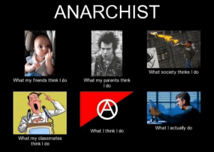 literally me irl: ANARCHIST  What society thinks I do  What my friends think I do  What my parents think  I do  What I actually do  What I think I do  What my classmates  think I do literally me irl