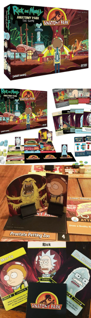"""Rick and Morty, The Game, and Tumblr: ANATOMY PARK  THE GAME  [adult swim]   Hepatitis C  ANATOMY PARK  THE GAME  AÑATONYPARK/  ODIL  ACTION  DISEA  Po  Dr. Ran  [adult swim]  MASTER MAST  PLA  PLAN  TET  AI eed of game, toon  for each  mare adjaoent biue   Lower Abdome  it  ATT  Draw a Bodily R  2017 CZE Tis e Adult Swim  Prostate Petting Zoo4   Rick  0  COMBAT  COMBAT 1  MOVE 3  When you perform the """"D  draw 3 Tiles instead and  on the bottom of th  ANATOMY PARK novelty-gift-ideas:Rick And Morty Anatomy Park Game"""