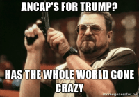 ANCAP'S FOR TRUMP  HAS THE WHOLE WORLD GONE  CRAZY  memegenerator net When I see r/Mr_Trump on the sidebar of r/libertarian