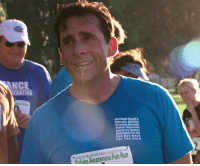 Michael Scott, Run, and The Office: ANCE  Michael Scott's  Dunder Millin  Scranton Meredith  Palmer Memoria  Celebrity Rabies  Awareness Pro-Ani  Fun Run Race  For The Cure  CELEBRITY PRO AM  Fun Run  Awareness Rabies Finishing that 5K was the hardest thing I have ever had to do... And while I eventually puked my guts out, I never puked my heart out. I'm very, very proud of that.