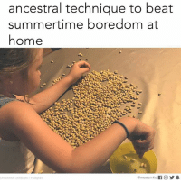 Don't even let your mom hear you say you're bored.: ancestral technique to beat  summertime boredom at  home  photocredit pottstastic/ Instagram  @wearer nitu K 回步. Don't even let your mom hear you say you're bored.