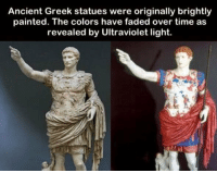 https://t.co/WowJbeNe4n: Ancient Greek statues were originally brightly  painted. The colors have faded over time as  revealed by Ultraviolet light. https://t.co/WowJbeNe4n
