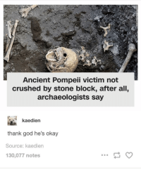 God, Okay, and Scratch: Ancient Pompeii victim not  crushed by stone block, after all,  archaeologists say  kaedien  thank god he's okay  Source: kaedien  130,077 notes 'Tis but a scratch