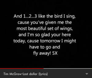 This song was my childhood: And 1...2...3 like the bird I sing,  cause you've given me the  most beautiful set of wings,  and I'm so glad your here  today, cause tomorrow I might  have to go and  fly away! 5X  Tim McGraw-Last dollar (lyrics) This song was my childhood