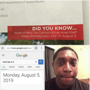 Being Alone, Birthday, and Google: and assortment of spare blades.  up.  RCH  DID YOU KNOW...  Alone on Mars, the Curiosity Rover sings itself  Happy Birthday every year on August 5.  tps://www.google.com/sea  Google  xQ  what day is it  ALL  IMAGES  VIDEOS  NEWS  MAPS  Monday, August 5,  2019 Happy Birthday to you, Curiosity Rover!