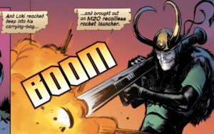 The weapon of gods: ...and brought out  an M20 recoilless  rocket launcher.  And Loki reached  deep into his  carrying-bag...  ற் The weapon of gods
