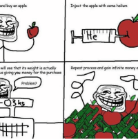 "Apple, Meme, and Memes: and buy an apple  Inject the apple with some helium  Repeat process and gain infinite money a  will see that its weight is actually  us giving you money for the purchase  Problem? <p><a href=""http://frogskope.tumblr.com/post/157315614617/old-school-rage-comic-meme-today-folks-enjoy"" class=""tumblr_blog"">frogskope</a>:</p>  <blockquote><p>Old school rage comic meme today folks. Enjoy. #frogskope #memes #ragecomics #reee #kek</p></blockquote>"