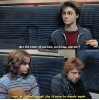 Memes, Weird, and Chocolate: And did either of you two, you know, pass out?  POTTERSCEN  No. I felt weird though. Like I'd never be cheerful again. [ PrisonerOfAzkaban – 2004] — Q: What's your favourite type of chocolate?