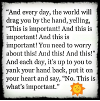 "Memes, Ups, and Heart: ""And every day, the world will  drag you by the hand, yelling,  ""This is important! And this is  important! And this is  important! You need to worry  about this! And this! And this!""  And each day, it's up to you to  yank your hand back, put it on  your heart and say, ""No. This is  what's important."""