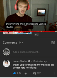 James Charles: and everyone tweet this video to James  Charles  Comments 14K  Add a public comment...  James Charles10 minutes ago  thank you for making my morning on  twitter very horrifying  157