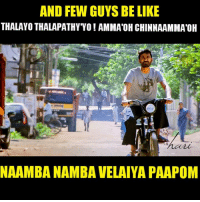 Memes, 🤖, and Guys Be Like: AND FEW GUYS BE LIKE  THALAYO THALAPATHYYO! AMMA'OHCHINNAAMMATOH  NANAMBA NAMBA VELAIYA PAAPOM Sattubuttunu Mudiva Edunga Bha !! 😉😂😉 #HaRi