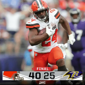 FINAL: @bakermayfield and the @Browns go into Baltimore and get the win!  #CLEvsBAL https://t.co/fAufWDYhkQ: AND  FINAL  40 25 8 FINAL: @bakermayfield and the @Browns go into Baltimore and get the win!  #CLEvsBAL https://t.co/fAufWDYhkQ