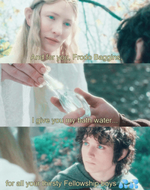 Galadriel Delphine by PoonSwoggle MORE MEMES: And for you, Frodo Baggins,  LOTHLORIENCE  I give you my bath water...  for all your thirsty Fellowship boys Galadriel Delphine by PoonSwoggle MORE MEMES