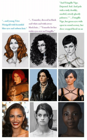 """Its quite simple really, don't watch it.: """"And Fringilla Vigo.  Dejected. Sad. And pale  with a truly deathly,  morbid, utterly ghastly  paleness.""""""""...Fringilla  """"... Yennefer, dressed in black  """"..and young Triss  Vigo, her green eyes wide  and white and with raven-  Merigold with beautiful  open in sexual ecstasy, her  blue eyes and auburn hair."""" black hair..."""" """"Yennefer let her  violet eyes rest on Fringilla.""""  close-cropped head on an Its quite simple really, don't watch it."""