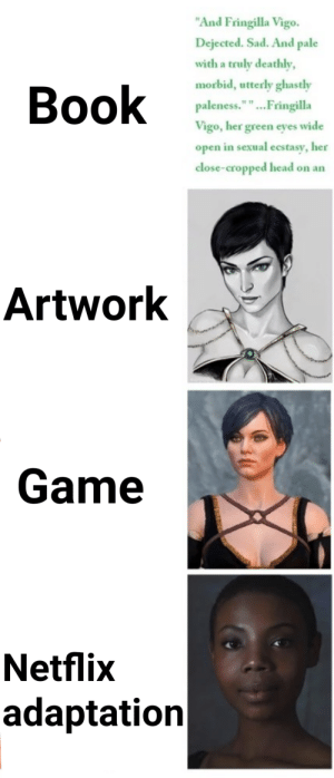 """diversity at all cost: """"And Fringilla Vigo.  Dejected. Sad. And pale  with a truly deathly,  morbid, utterly ghastly  Book  paleness."""""""".Fringilla  Vigo, her green eyes wide  open in sexual ecstasy, her  close-cropped head on an  Artwork  Game  Netflix  adaptation diversity at all cost"""