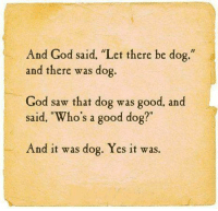 """Dog God: And God said. """"Let there be dog.""""  and there was dog.  God saw that dog was good, and  said, Who's a good dog?""""  f1  o s a good dog  And it was dog. Yes it was."""