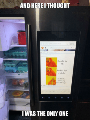 Dank, Memes, and Reddit: AND HERE I THOUGHT  www.reddit.com/r/memes  Searchrime  move cree  with e?  Reddit for  PC  Reddit for  mobile  Reddit for  Samsung  Smart Fridge  9  IWAS THE ONLY ONE The truly superior by endortech MORE MEMES