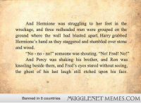"Hermione, Memes, and Ghost: And Hermione was struggling to her feet in the  wreckage, and three redheaded men were grouped on the  ground where the wal had blasted apart. Harry grabbed  Hermione's hand as they staggered and stumbled over stone  and wood  ""No no no!"" someone was shouting. ""No! Fred! No!""  And Percy was shaking his brother, and Ron was  kneeling beside them, and Fred's eyes stared without seeing,  the ghost of his last laugh still etched upon his face.  Banned in 0 countries  MUGGLENET MEMES.COM <p>RIP Fred. :( <a href=""http://ift.tt/16ETpk6"">http://ift.tt/16ETpk6</a></p>"