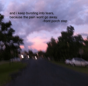 Tumblr, Blog, and Http: and i keep bursting into tears,  because the pain wont go away.  -front porch step trashddy: i wont say that i'm okay//front porch step  (favorite song at the moment)