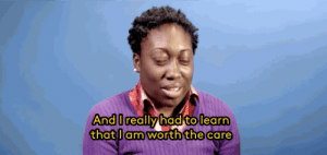 """refinery29: This Is What It's Like To Be """"Depressed While Black"""" Gifs: Project UROK : And I really had to learn  that lam worth the care refinery29: This Is What It's Like To Be """"Depressed While Black"""" Gifs: Project UROK"""
