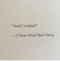 "Word, Three, and Story: And I waited.""  A Three Word Short Story"