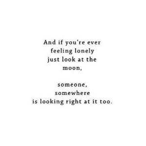 Http, Moon, and Net: And if you're ever  feeling lonely  just look at the  moon,  someone,  somewhere  is looking right at it too. http://iglovequotes.net/