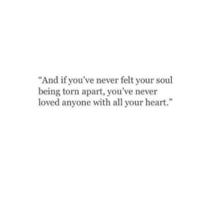 "Heart, Never, and Torn: ""And if you've never felt your sou  being torn apart, you've never  loved anyone with all your heart."""