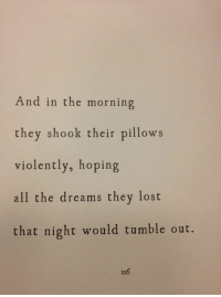 Tumble: And in the morning  they shook their pillows  violently, hoping  all the dreams they lost  that night would tumble out.  116