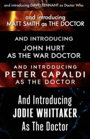 Doctor, Target, and Tumblr: and introducing DAVID TENNANT as Doctor Who   and introducir  MATT SMITH as THE DOCTOR   AND INTRODUCING  JOHN HURT  AS THE WAR DOCTOR   AND INTRODUCING  PETER CAPALDI  AS THE DOCTOR   And Introducing  JODIE WHITTAKER  As The Doctoir thecaddicarus: Nobody knew which Doctor David Tennant was