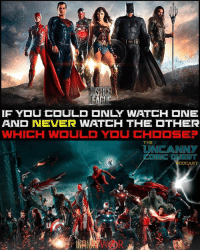 Batman, Click, and Memes: AND NEVER WATCH THE  THER  THE PODCAST QUESTION! Personally I'm torn. On one hand I've invest 9 years into the Marvel franchises and on the other hand I bleed DC Comics. Choosing Marvel is the safe bet but I like to bet on underdogs so I'd pick Justice League. How about you? Comment below!👇🏼 . . . 🚨don't forget to CLICK THE LINK IN MY BIO to hear our latest Uncanny Comic Quest podcast episode. We reviewed Spider-Man: Homecoming movie🚨 . . . batman superman wonderwoman aquaman theflash cyborg greenlantern martianmanhunter justiceleague darkseid ironman captainamerica doctorstrange spiderman spidermanhomecoming hulk thor thorragnarok marvel dccomics dcrebirth avengers avengersinfinitywar darkseid steppenwolf greenarrow arrow supergirl reverseflash blackpanther