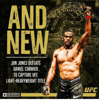 Memes, Sports, and Ufc: AND  NEW  JON JONES DEFEATS  DANIEL CORMIER  TO CAPTURE UFC  LIGHT-HEAVYWEIGHT TITLE  UFC  OC  CBS SPORTS Jon Jones is back on top. ufc214