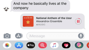 Music, Reddit, and National Anthem: And now he basically lives at the  company  National Anthem of the Ussr  THE RED ARMY CHOIR  II  Alexandrov Ensemble  MUSIC  THE ITIELLET  iMessage  *Pay Ahh yes