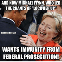 """Memes, Michael, and 🤖: AND NOW MICHAEL FLYNN, WHO LED  THE CHANTS OF """"LOCK HERUP""""  OCCUPY DEMOCRATS  WANTS IMMUNITY FROM  FEDERALPROSECUTION!"""