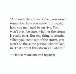 "Storms: ""And once the storm is over, you won't  remember how you made it through,  how you managed to survive. You  won't even be sure, whether the stornm  is really over. But one thing is certain  When you come out of the storm, you  won't be the same person who walked  in. That's what this storm's all about.""  Haruki Murakami (via hqlines)"