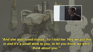 "aurous-android: Jeff Kaplan explains the meaning behind ""E54″ (x) This is so cute ;-; Bonus: : ""And she also loved robots; SoItold her 'Hey we put this  in and it's a small wink to you, to let you know we were  think about you. aurous-android: Jeff Kaplan explains the meaning behind ""E54″ (x) This is so cute ;-; Bonus:"